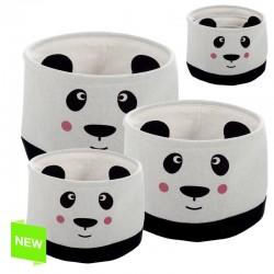 Juego de 3 cestos organizador redondos infantil oso panda.