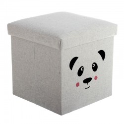 Puff baúl infantil plegable de poliester oso panda .