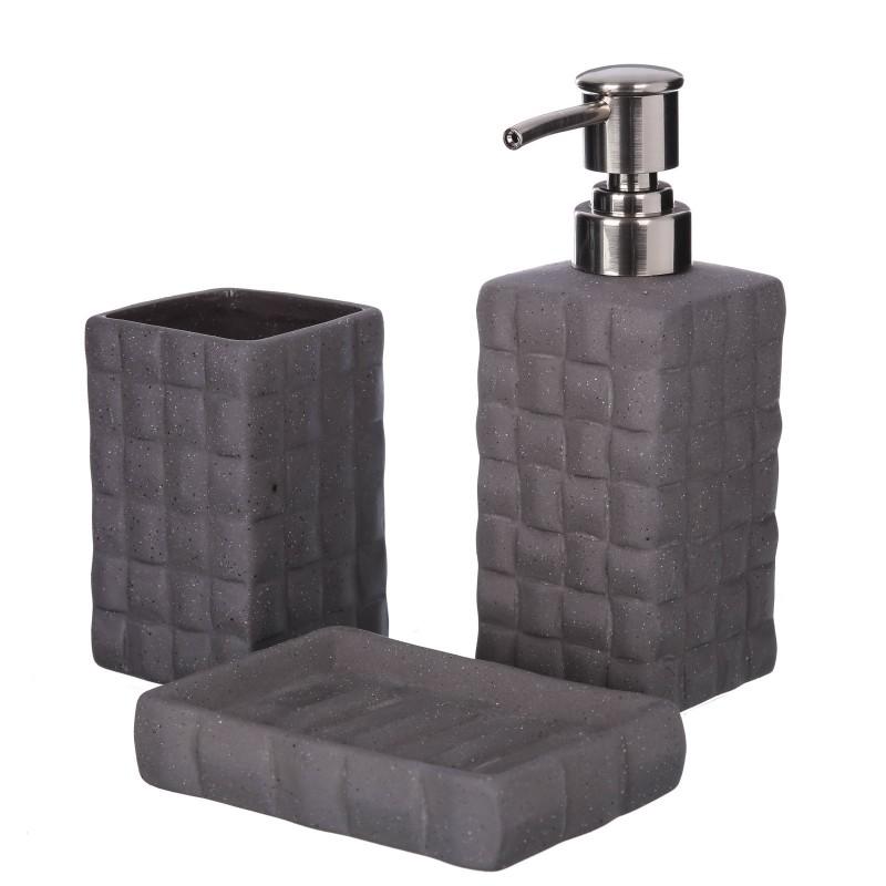 Accesorios Baño Gris:Baño > Accesorios de baño > Set baño 3 piezas gris stoneware 6,50