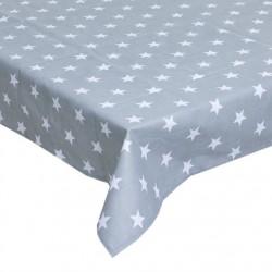 Mantel mesa antimanchas estrellas gris 145x145 cm