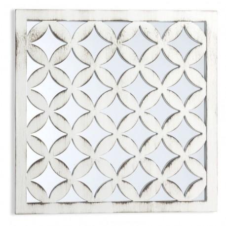 Espejo pared decorado crema Medida: 40X40 cm