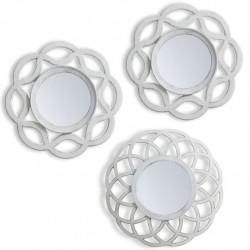 Juego de 3 espejos pared crema Medida: 25X2X25 CM