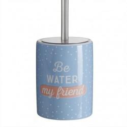"Escobillero moderno inglés ""BE WATER""de cerámica para cuarto de baño"