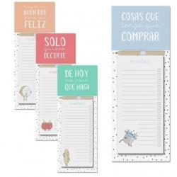 Pack 4 bloc notas iman con lapiz diseño frases original 4/m