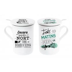 Tazas con filtro y tapa diseño original frases catala (Set de 2 tazas)