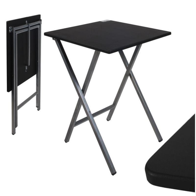 Mesa cuadrado plegable negra 48x48x65 cm - Mesas plegables auxiliares ...