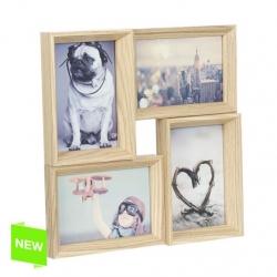 Portafotos multiple 4 fotos de madera 30x30 cm .