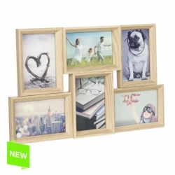 Portafotos multiple 6 fotos de madera 50x30 cm .