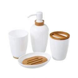 Set baño 4 piezas blanco poliestireno acabados en bambú. en caja de color.