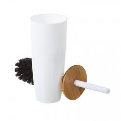 Escobillero blanco poliestireno 9,50 x 9,50 x 35 cm tapa de bambú.