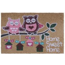 """Felpudo """"pink owl"""" fibra de coco 60 x 40 cm"""