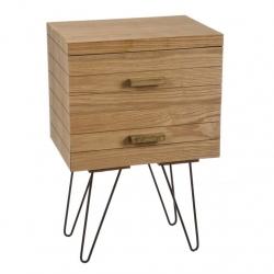 Mueble madera natural 2 cajones para dormitorio .