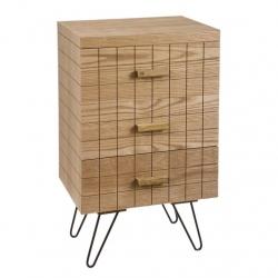 Mueble madera natural 3 cajones para dormitorio .
