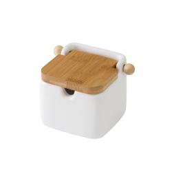 "Azucarero blanco ""stoneware"" 8 x 10,50 x 8 cm con tapa de bambú."