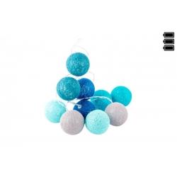 Bolas azules de Algodón Luz 10 leds 6x150 cm .