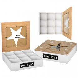 """Caja te """"star"""" mdf / cristal con 9 departamentos."""
