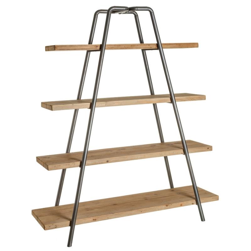 Estanter a de 4 baldas industrial marr n de madera - Estanterias pequenas de madera ...
