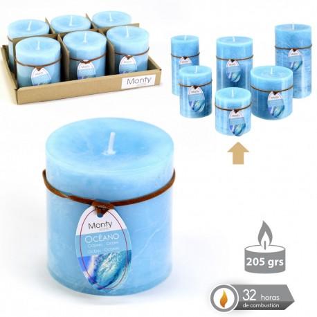 Caja 6 Vela cilíndrica perfumada aguamarina 7 x 7 cm 208 grs- 32 horas combustión -2% perfume océano