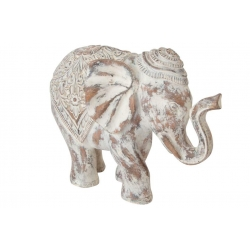 Figura elefante de suerte resina blanco decape 31 x 14 x 23 cm .