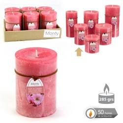 Caja 6 Vela cilíndrica perfumada coral 7 x 9,50 cm 285 grs- 50 horas combustión -2% perfume flor cerezo