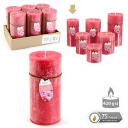 Caja 6 Vela cilíndrica perfumada coral 7 x 14 cm 420 grs- 75 horas combustión -2% perfume flor cerezo