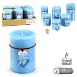 Caja 6 Vela cilíndrica perfumada aguamarina 7 x 9,50 cm 285 grs- 50 horas combustión -2% perfume océano