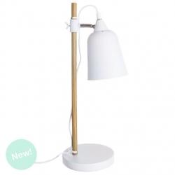 Lámpara escritorio nórdica blanca de madera para decoracion moderna .