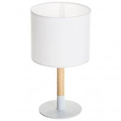 Lámpara de sobremesa nórdica blanca de madera .