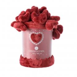 Manta para pie de cama romántica roja de poliéster para dormitorio Iris