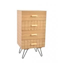 "Cajonera 4 cajones ""SCANDI"" madera natura para dormitorio ."