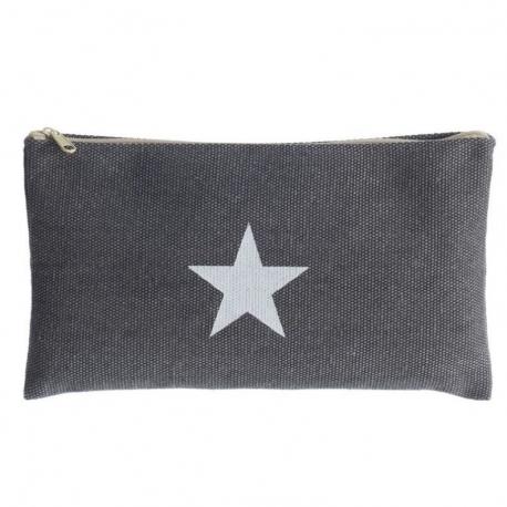 Neceser portalapices moderna gris estrella con cremallera