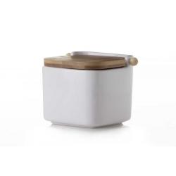 Salero cuadrado de cerámica blanco con tapa de bambú (12x12x10.5)