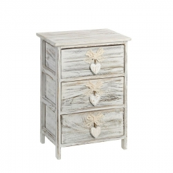 Cajonera de 3 cajones provenzal beige de madera para dormitorio Vitta