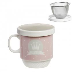 Taza con filtro corona rosa .