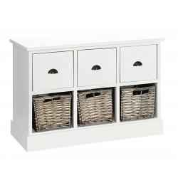 Mueble auxiliar 6 cajones blanco-natural 71 x 32 x 49 cm .