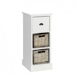 Mueble auxiliar 3 cajones blanco-natural 26 x 32 x 63 cm .