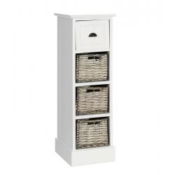 Mueble auxiliar 4 cajones blanco-natural 26 x 32 x 83 cm .