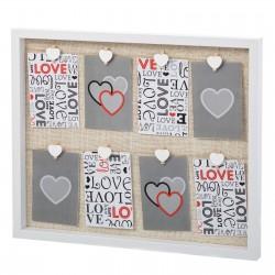 Portafotos con pinzas blanco lino-mdf 51 x 3 x 43 cm .