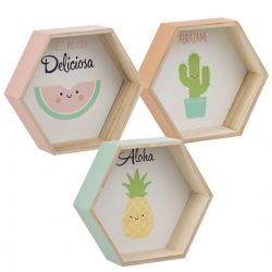 Juego 3 estante de madera original diseño Infantil .