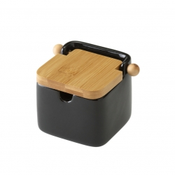 "Azucarero negro ""stoneware"" 8 x 10,50 x 8 cm con tapa de bambú."