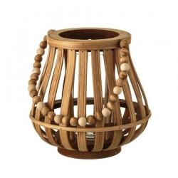 Farol portavelas étnico marrón de madera para decoración Sol Naciente