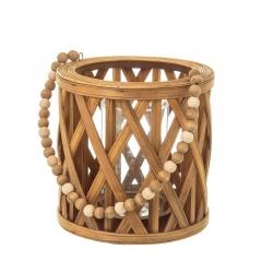 Farol portavelas étnico marrón de madera para salón Sol Naciente