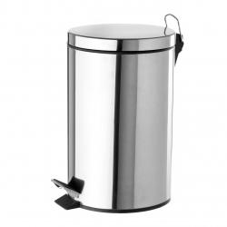 Papelera de 12 litros clásica plateada de acero para cocina Basic .