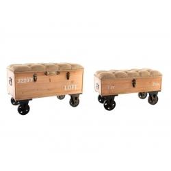 Puffs baúl descalzadora marrones de madera para salón Bretaña