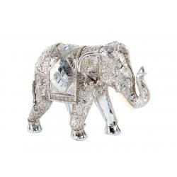 Figura elefante de suerte resina plateado 17x7x13 cm .