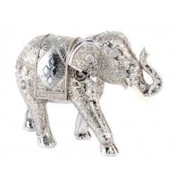 Figura elefante de suerte resina étnica plateado .