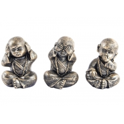 "Figuras monje de resina étnica bronce . ""Pack 3 monje Ver, Oir, Callar"""