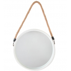 Espejo de pared metal con cuerda blanco sello 33 cm fantasy .