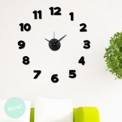 Reloj Adhesivos de pared negro acolchado 50x50 cm
