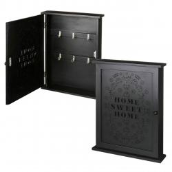 Caja para llaves negro de madera decorada 25x6x32 cm.